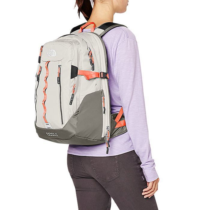 balo đựng laptop cao cấp the north face surge II transit màu ghi